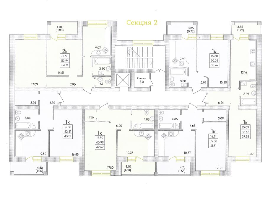 ЖК Парк Совиньон Секция 2 Планировка типового этажа