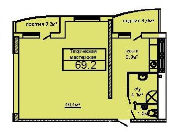 68,2 кв.м ЖК Вернисаж Дом 6 Сек 6 двухкомнатная Планировка