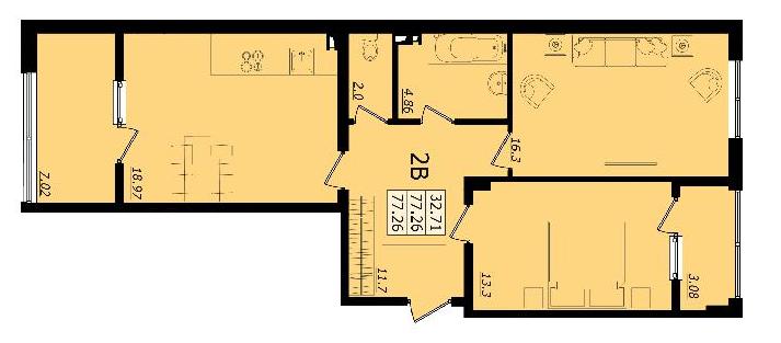 ЖК Золотая Эра Дом 6 Двухкомнатная 77,26 кв.м Планировка