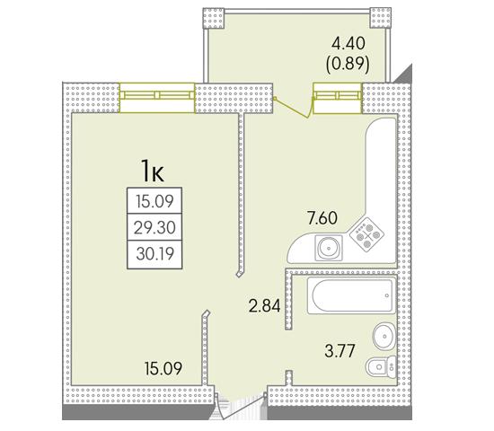 ЖК Парк Совиьон 2 очередь Однокомнатная 30,19 кв.м Планировка
