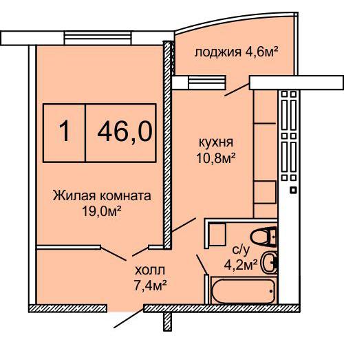 ЖК Вернисаж Дом 6 Сек 6 Однокомнатная 46 Планировка 1