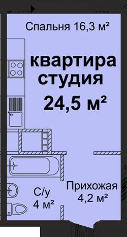 ЖК Скай Сити Однокомнатная 24,5 Планировка 1