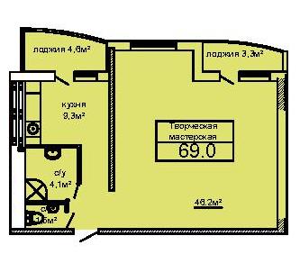 ЖК Вернисаж Дом 6 Сек 6 Двухкомнатная 69 Планировка 1