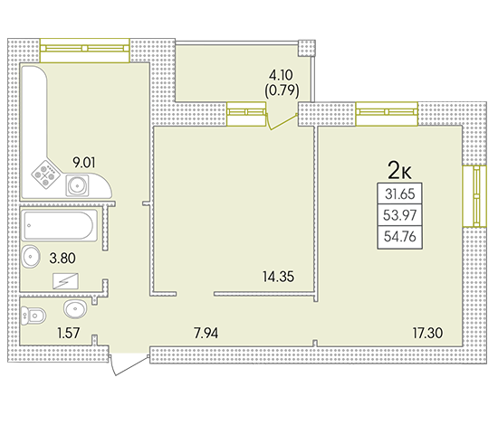 ЖК Парк Совиьон 2 очередь Двухкомнатная 56,31 кв.м Планировка