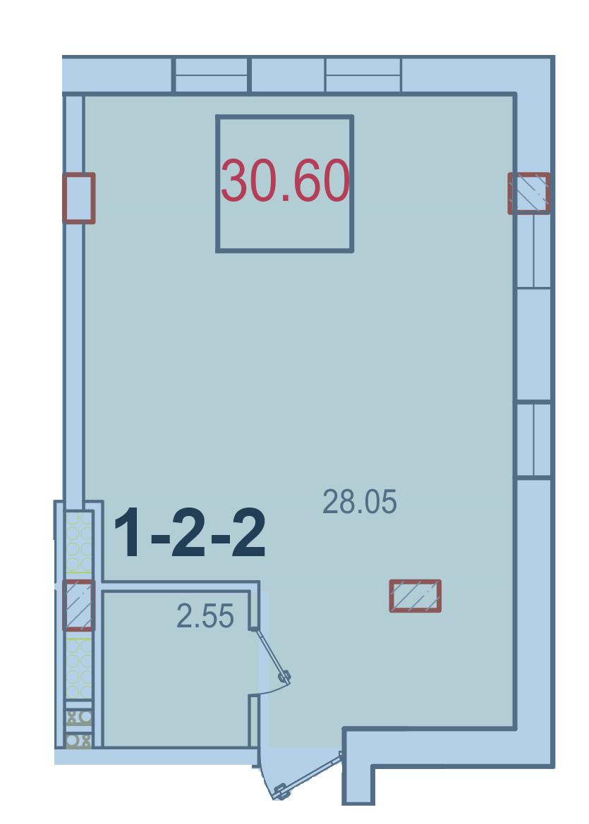 Однокомнатная - ЖК Smart (Смарт)ПроданаПлощадь:30,60m²
