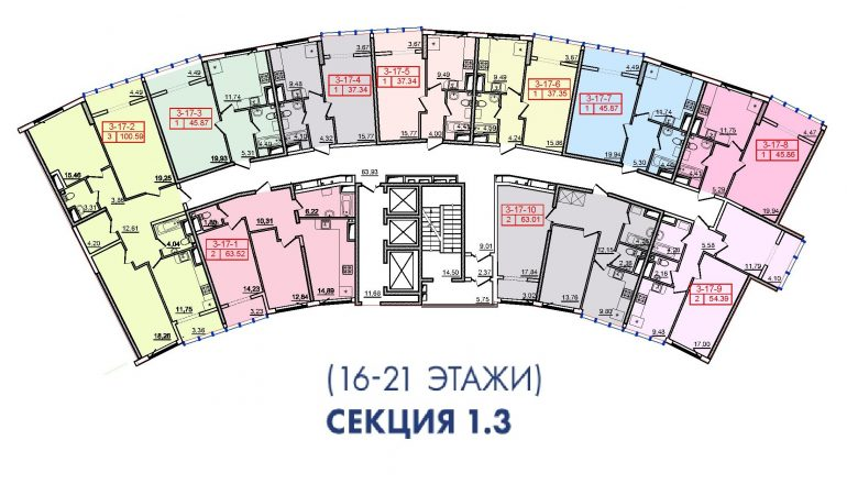 36 Жемчужина 3 Секция План 16-21 этажей