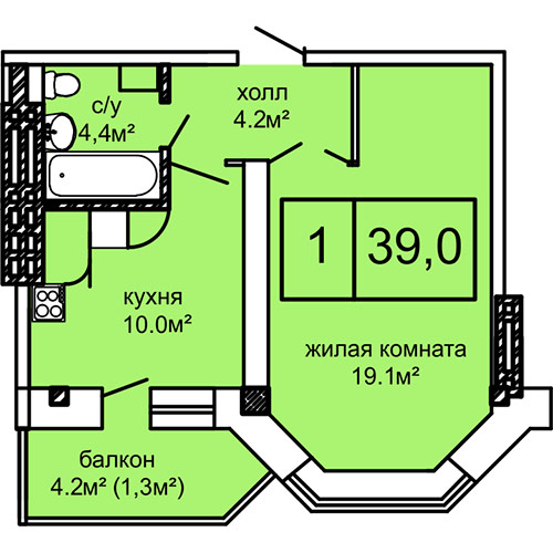 39,8 кв.м ЖК Вернисаж Дом 4 Однокомнатная Планировка