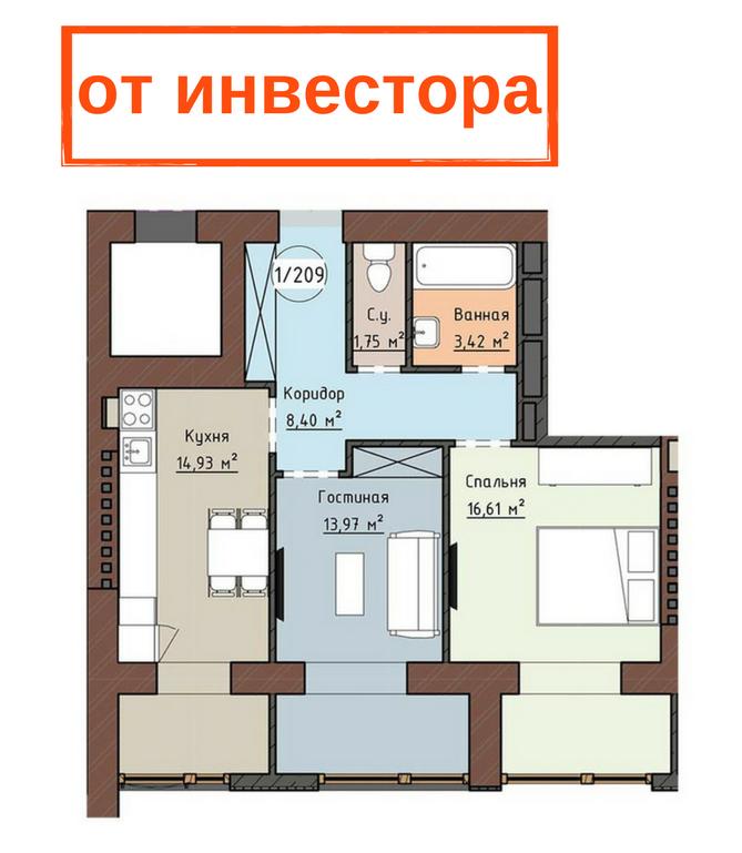 Двухкомнатная - ЖК Одесская Чайка на ПлиеваПроданаПлощадь:59,08m²