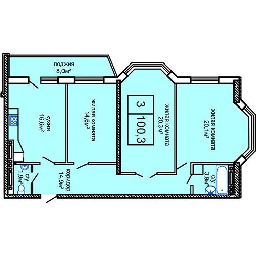 ЖК Вернисаж Дом 4 Трехкомнатная 105 Планировка