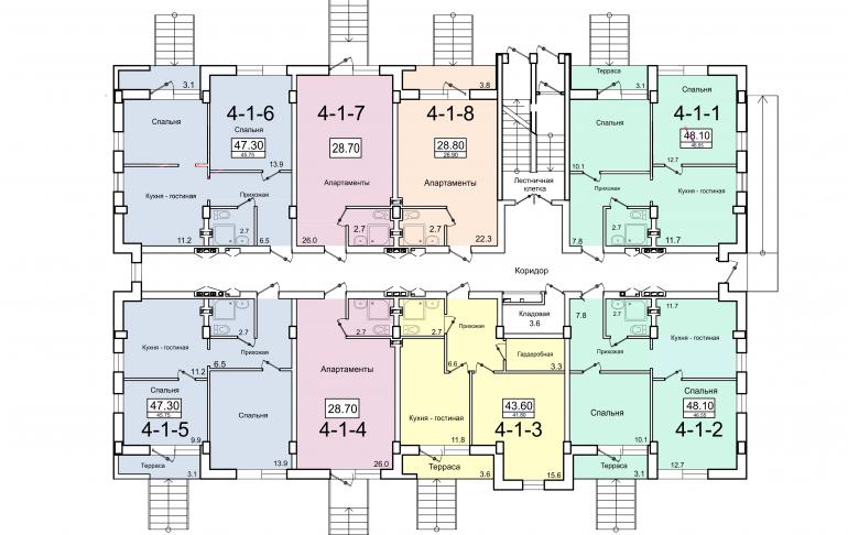 ЖК Smart (Смарт) 4 секция План 1-го этажа