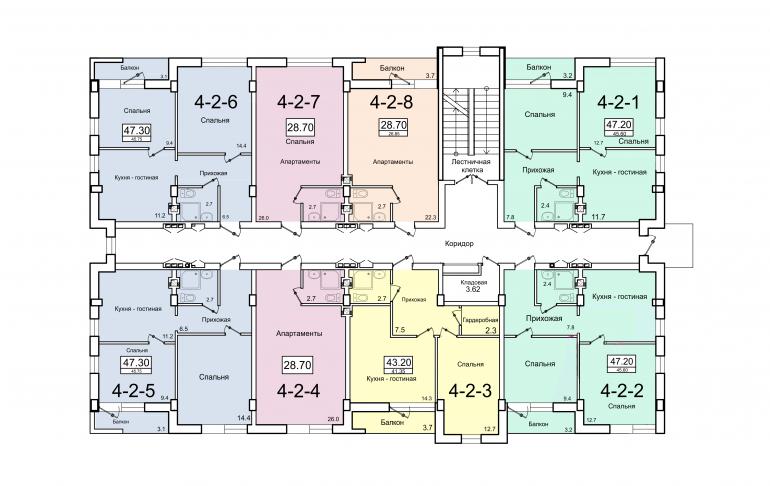 ЖК Smart (Смарт) 4 секция План 2-го этажа