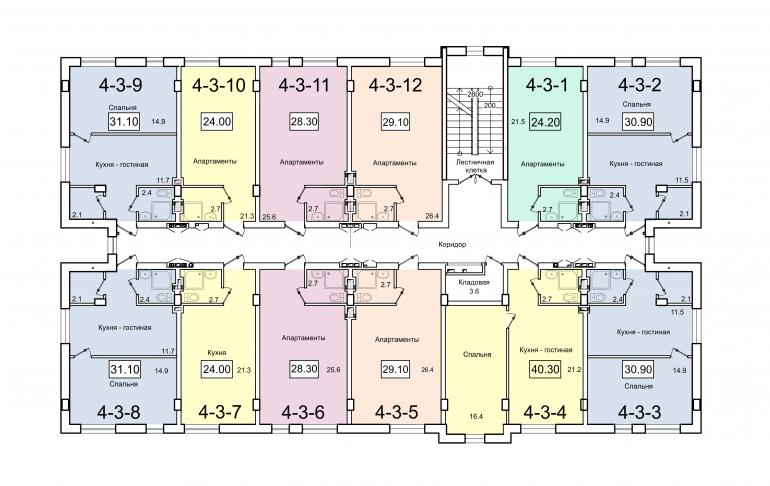 ЖК Smart (Смарт) 4 секция План 3-го этажа