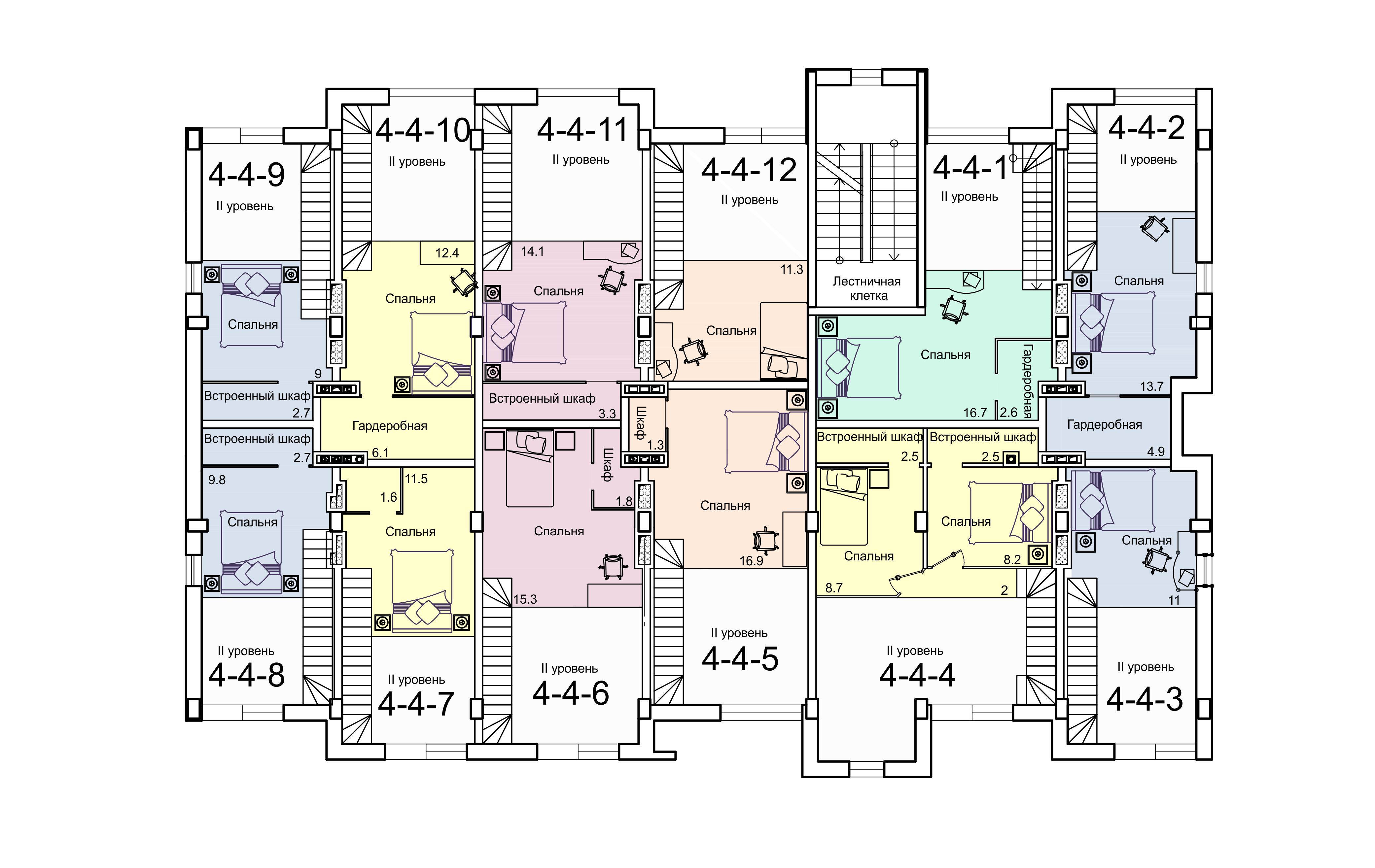 ЖК Smart (Смарт) 4 секция План 4-го этажа (2 уровень)