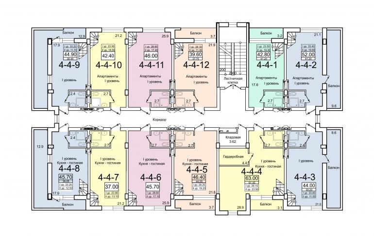 ЖК Smart (Смарт) 4 секция План 4-го этажа (1 уровень)