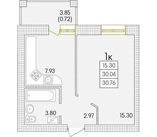 31 ЖК Парк Совиьон 2 очередь Однокомнатная Планировка