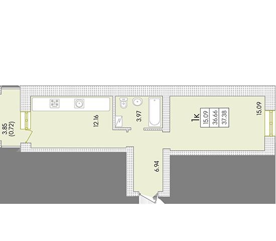 ЖК Парк Совиньон 2 очередь Однокомнатная 38,22 кв.м Планировка
