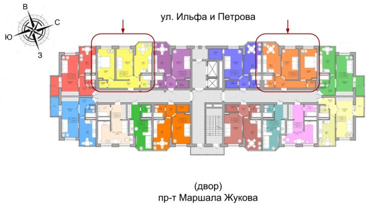 ЖК Акварель 2 очередь Двухкомнатная 51,54 Расположение на этаже