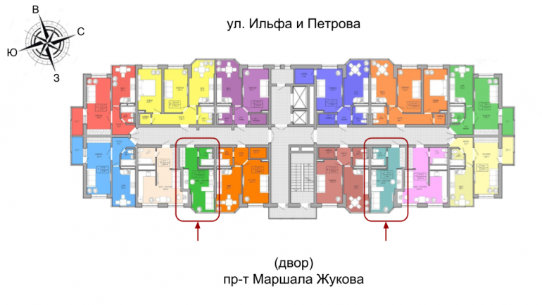 ЖК Акварель 2 очередь Однкомнатная 22,21 Расположение на этаже