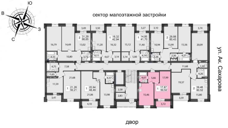 Чайка на Сахарова Однокомнатная 50,52 кв.м Расположение на этаже