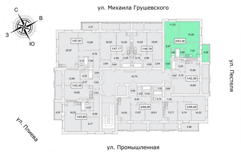 ЖК Одесская Чайка Двухкомнатная 53,88 кв.м Расположение на этаже