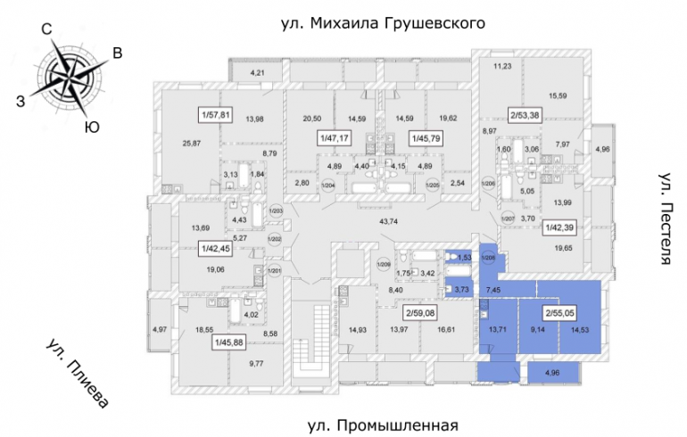 ЖК Одесская Чайка Двухкомнатная 55,05 кв.м Расположение на этаже