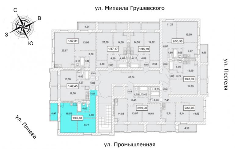 ЖК Одесская Чайка Однокомнатная 45,88 кв.м Расположение на этаже