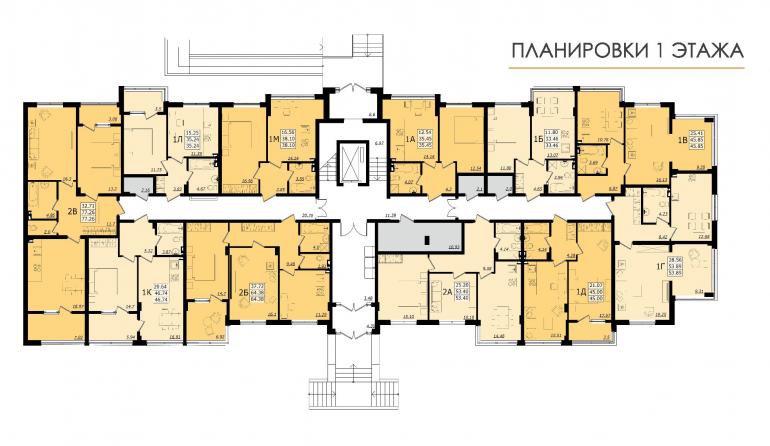 ЖК Золотая эра Дом №6 План 1-го этажа