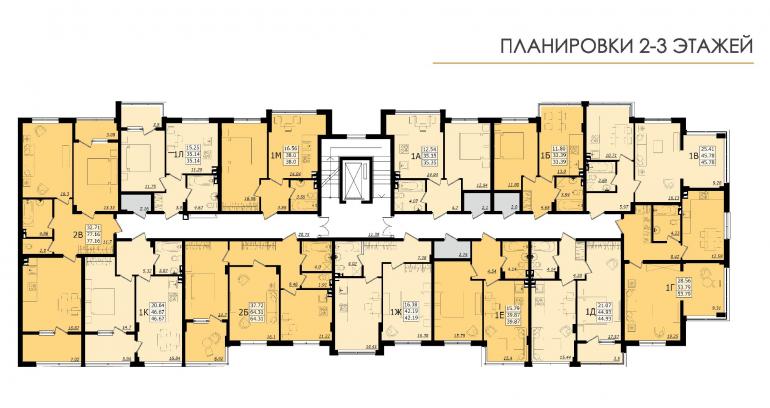 ЖК Золотая эра Дом №6 План 2-3 этажей