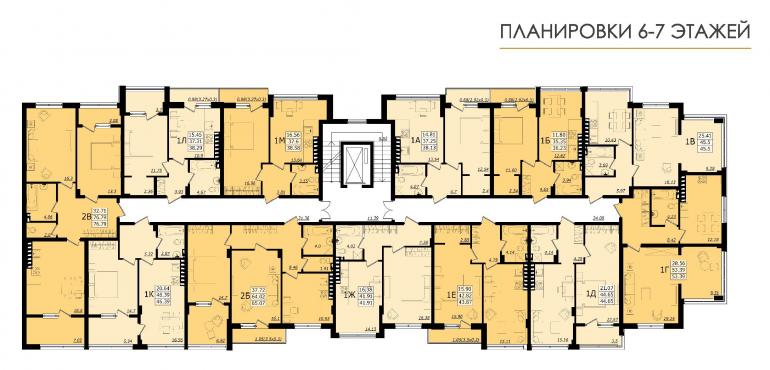 ЖК Золотая эра Дом №6 План 6-7 этажей