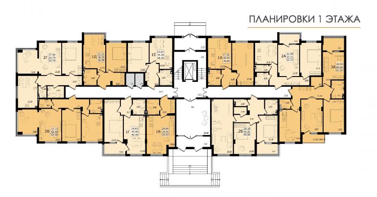 ЖК Золотая эра Дом №7 План 1-го этажа