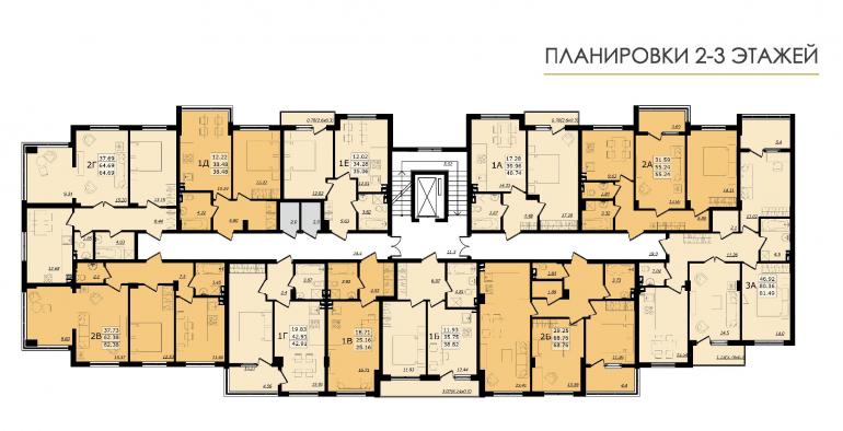 ЖК Золотая эра Дом №7 План 2-3 этажей