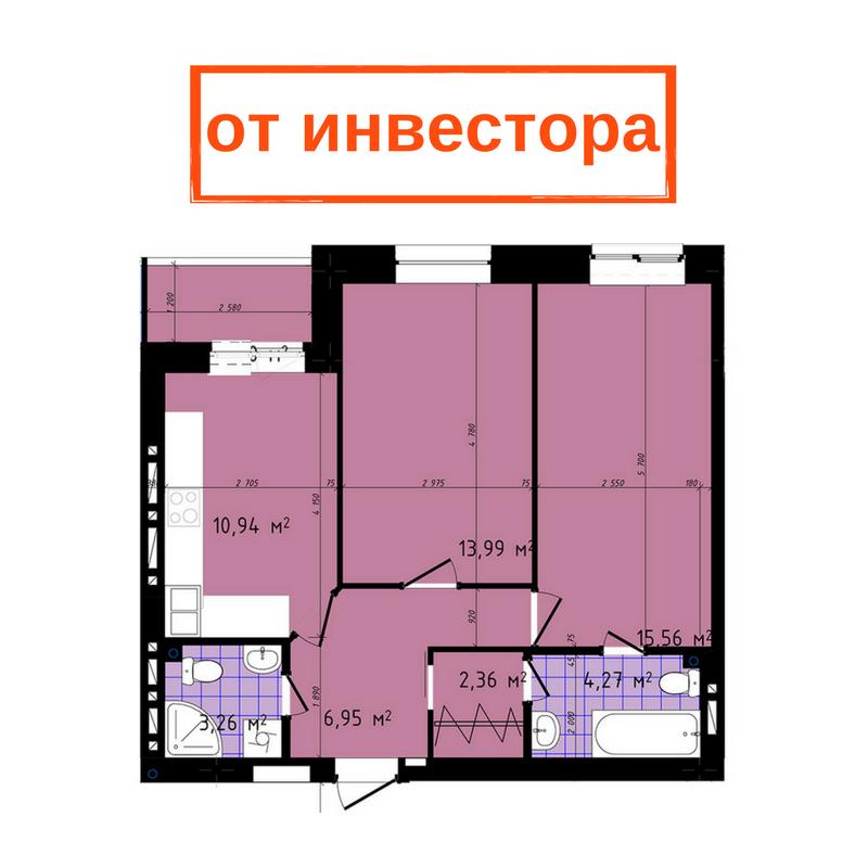 Чайка на Сахарова Двухкомнатная от инвестора 60,97 кв.м Планировка