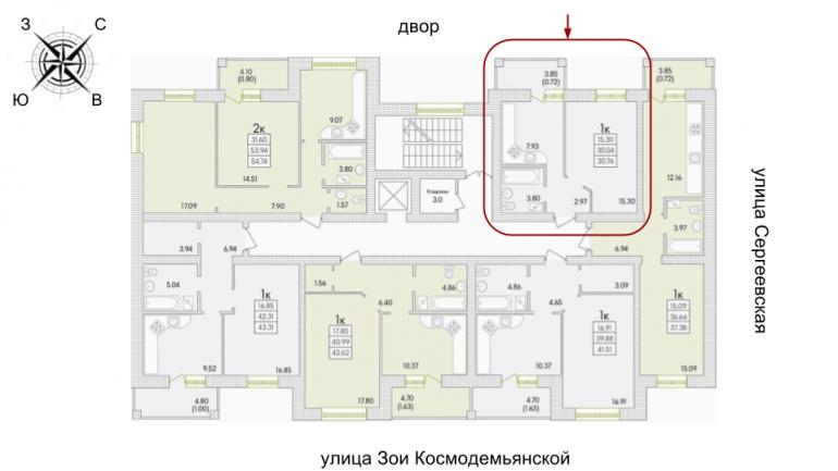 31 ЖК Парк Совиьон 2 очередь Однокомнатная Расположение на этаже