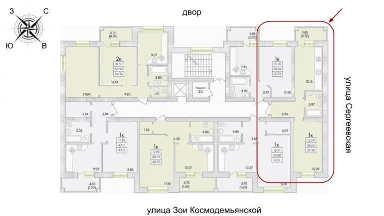 ЖК Парк Совиньон 2 очередь Однокомнатная 38,22 кв.м Расположение на этаже