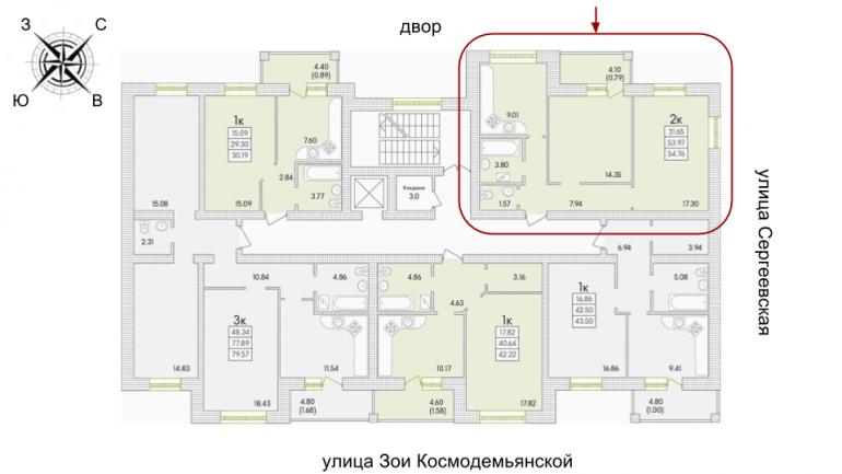 ЖК Парк Совиьон 2 очередь Двухкомнатная 56,31 кв.м Расположение на этаже