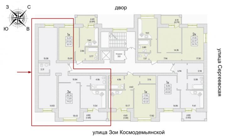 ЖК Парк Совиньон 2 очередь Трехкомнатная 82,71 кв.м Расположение на этаже