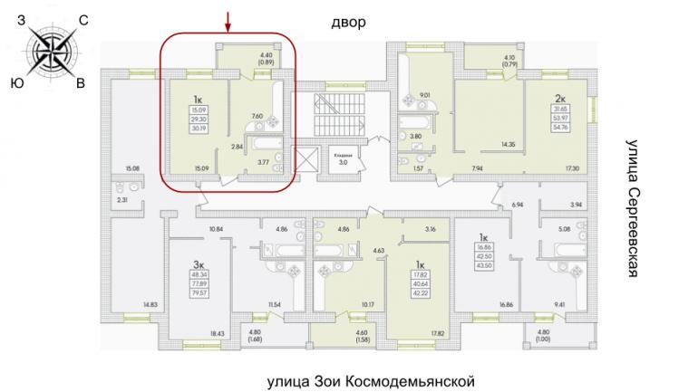 ЖК Парк Совиьон 2 очередь Однокомнатная 30,19 кв.м Расположение на этаже