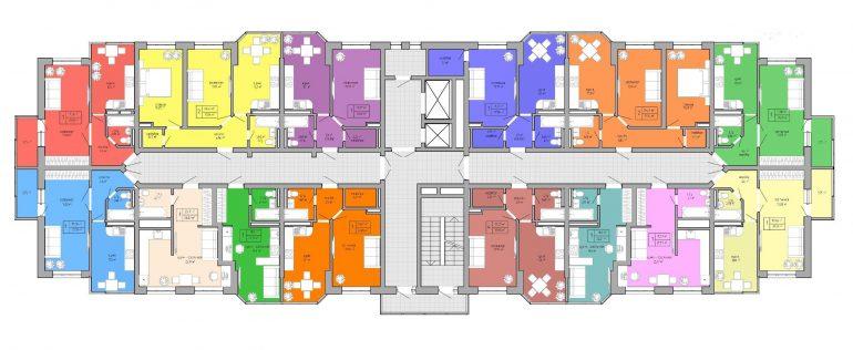 ЖК Акварель 2 очередь Дом №2 План типового этажа