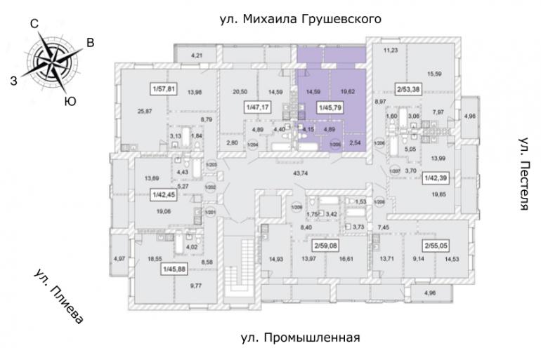 ЖК Одесская Чайка Однокомнатная от инвестора 45,79 кв.м Расположение на этаже