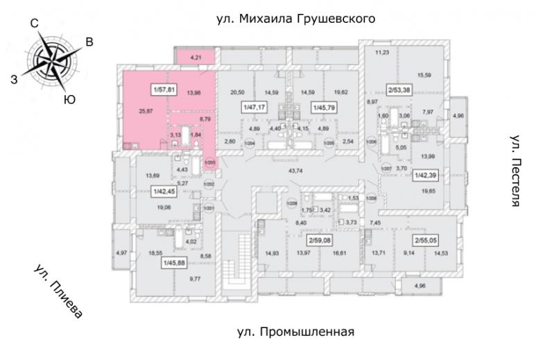 ЖК Одесская Чайка Двухкомнатная от инвестора 57,81 кв.м Расположение на этаже