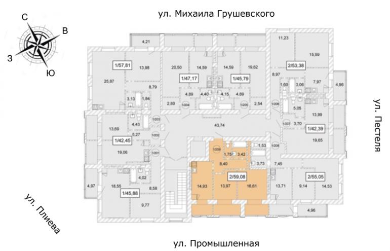 ЖК Одесская Чайка Двухкомнатная от инвестора 59,08 кв.м Расположение на этаже
