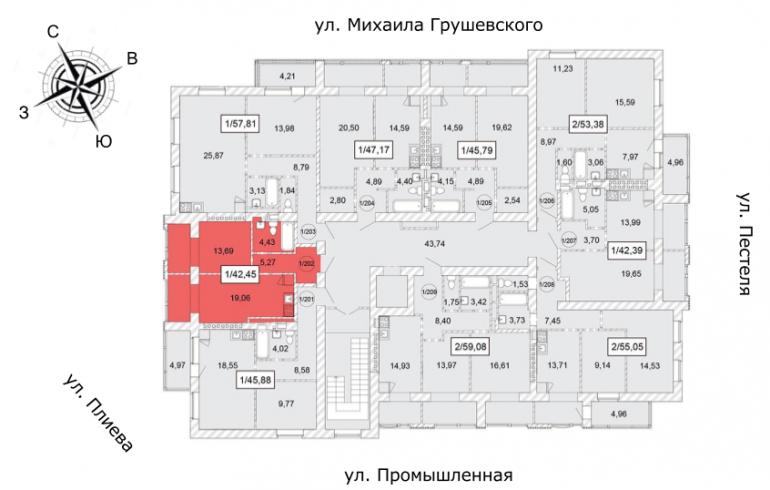 ЖК Одесская Чайка Однокомнатная от инвестора 42,45 кв.м Расположение на этаже