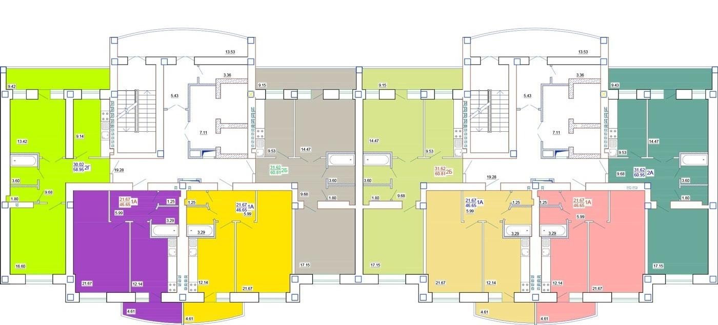 ЖК Одесский двор План типового этажа (Секции 9/12 и 9/13)