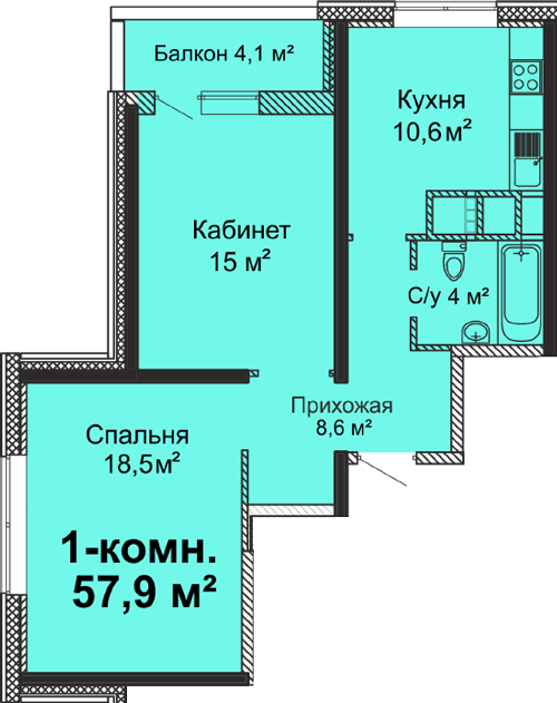 ЖК Скай Сити Двухкомнатная 57,9 Планировка 2