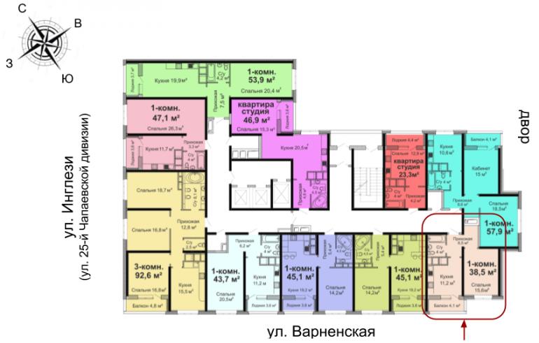 ЖК Скай Сити Однокомнатная 38,5 Расположение на этаже