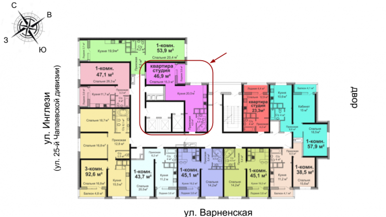 ЖК Скай Сити Однокомнатная 46,9 расположение на этаже