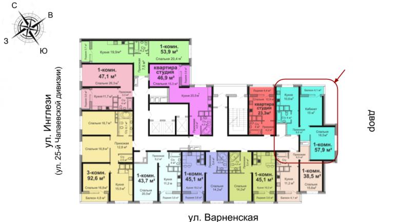 ЖК Скай Сити Двухкомнатная 57,9 Расположение на этаже