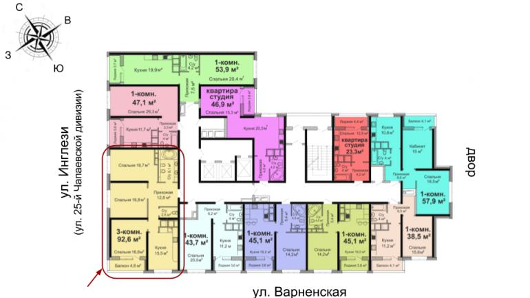 ЖК Скай Сити Трехкомнатная 93,2 Расположение на этаже