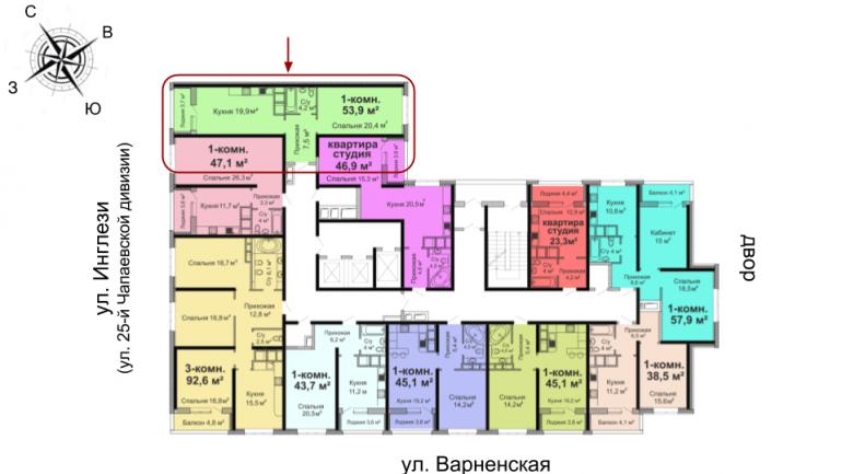 ЖК Скай Сити Однокомнатная 53,9 Расположение на этаже