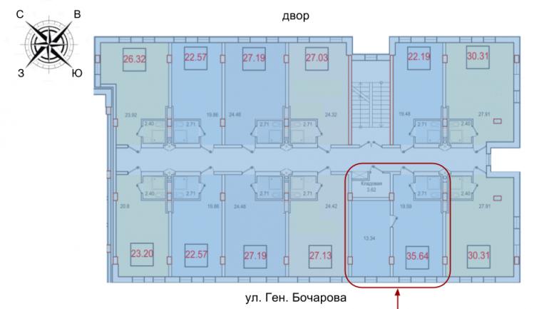 ЖК Смарт Однокомнатная 35,64 Расположение на этаже